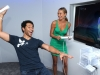 NEW YORK, NY - JUNE 27: (EXCLUSIVE COVERAGE)  (L-R) Actors Corbin Bleu and Stacy Keibler play Just Dance 4 at Nintendo Hosts Wii U Experience on June 27, 2012 in New York City.  (Photo by Jamie McCarthy/WireImage)
