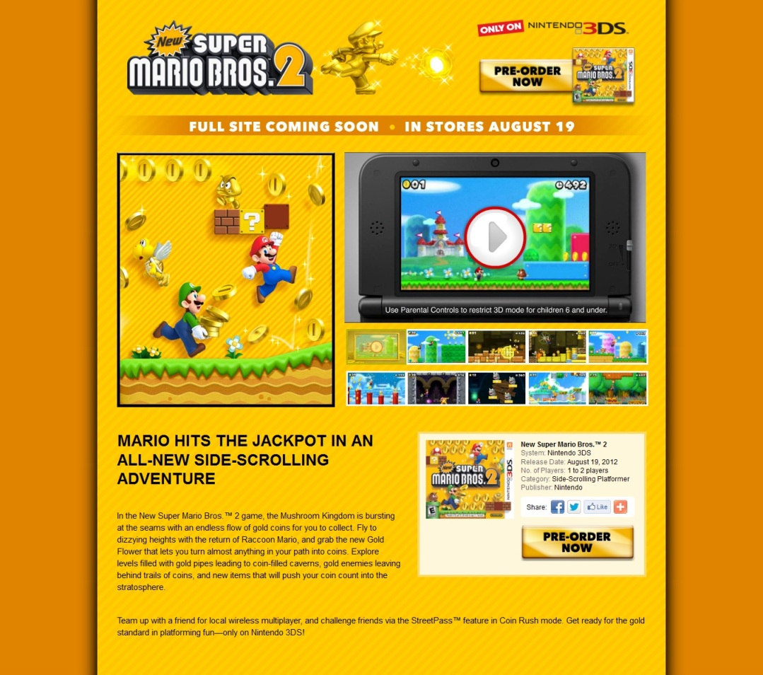 North American New Super Mario Bros 2 Site Open Nintendo Everything