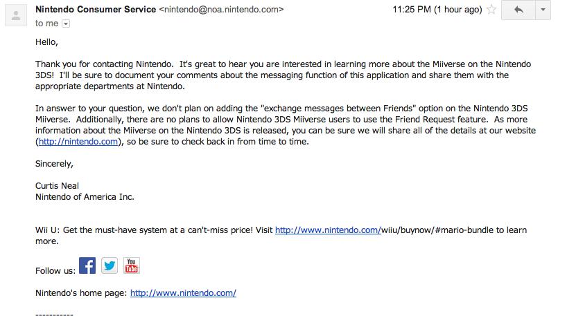 Nintendo customer service says 3DS Miiverse won't let you exchange ...