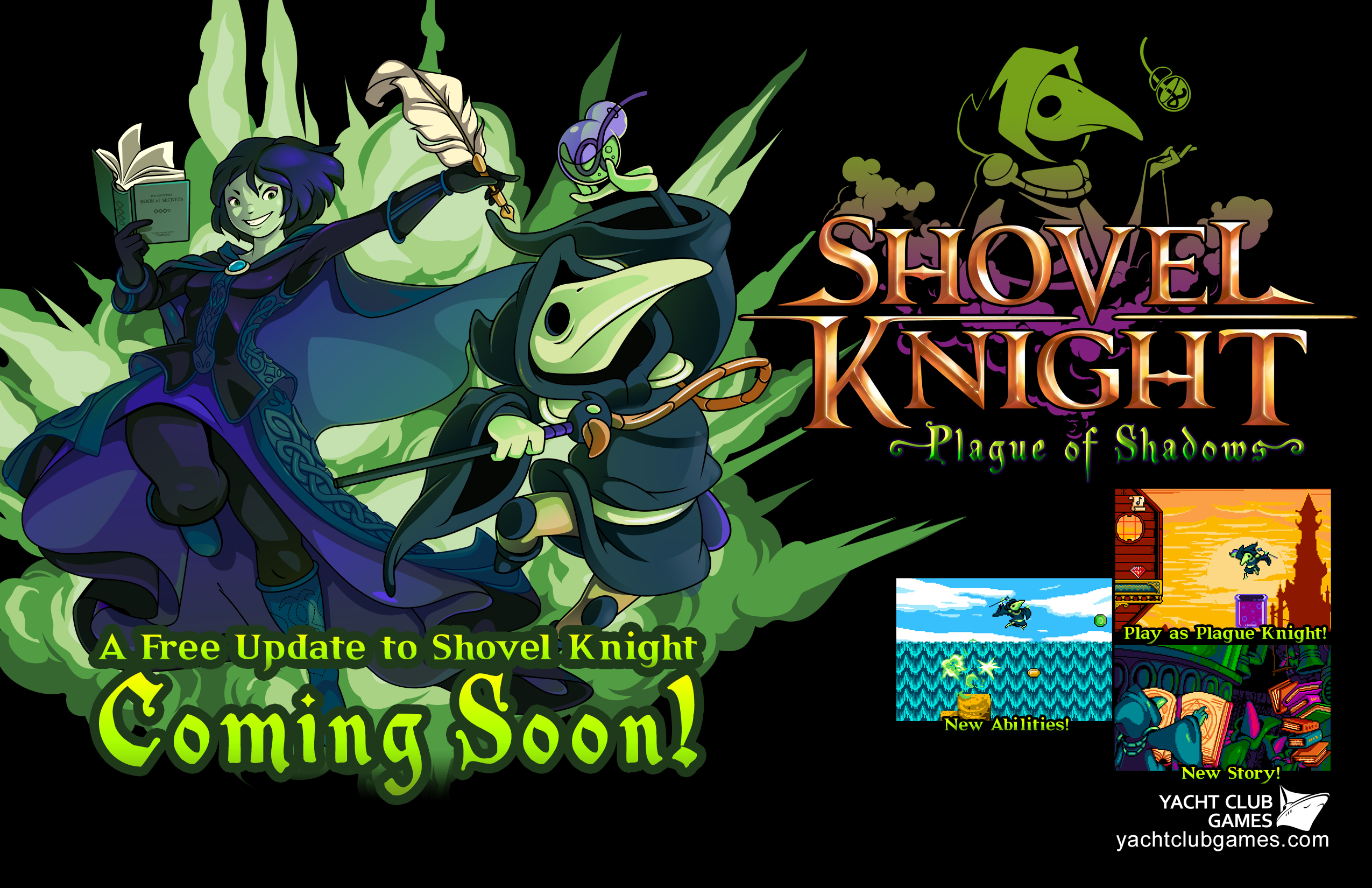 eshop: Shovel Knight Plague of Shadows Expansion is Expected To Hit The Wii U by Early Summer! Plague_Flyer