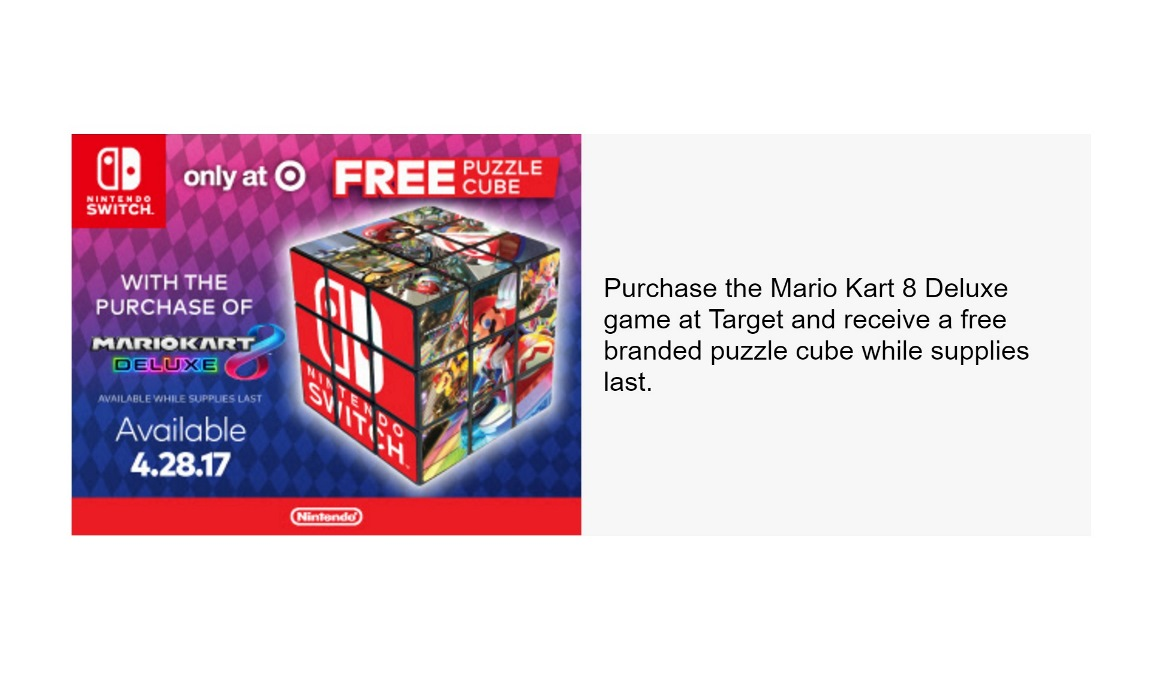 Mario kart 8 for sale - In It It Shows A Special Bonus For Mario Kart 8 Deluxe Purchases At Target You Ll Receive The Puzzle Cube Pictured Above When