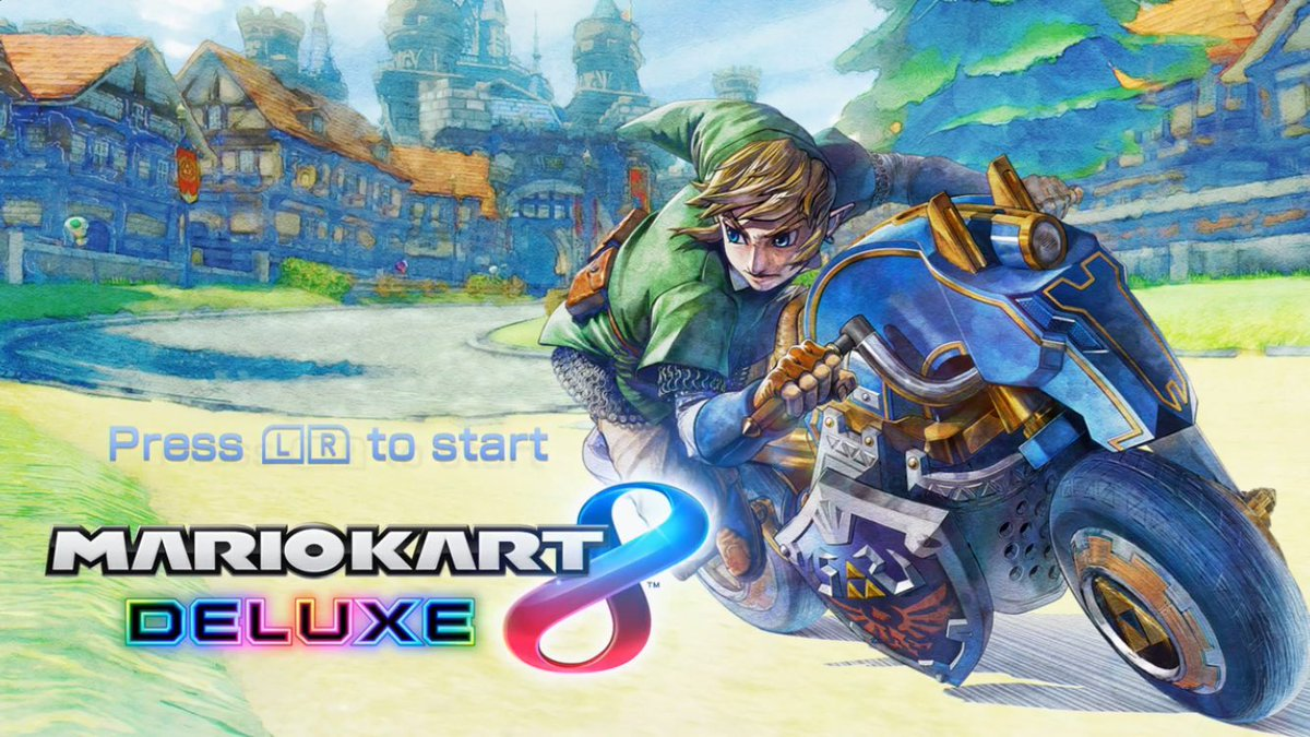 Mario Kart 8 Deluxe title screen with Link