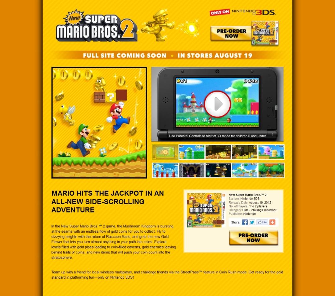 Warriors Orochi Ares: North American New Super Mario Bros. 2 Site Open