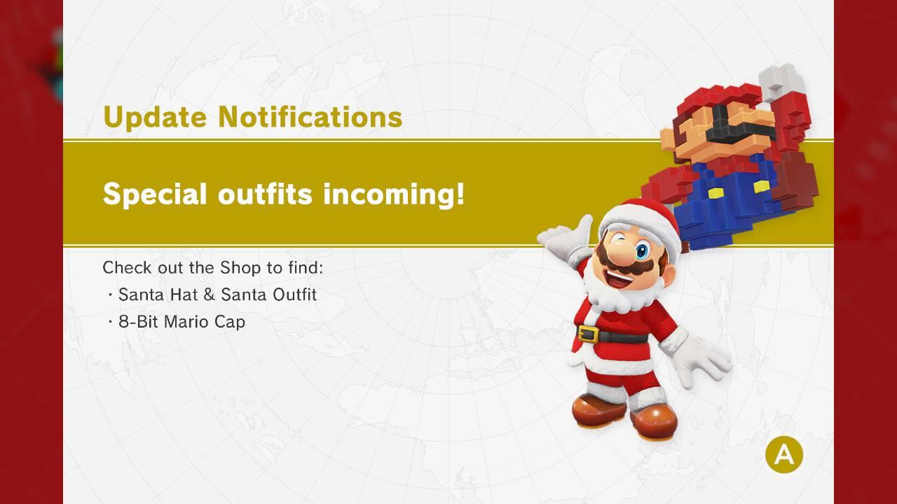 super mario odyssey adds santa hat santa outfit 8 bit mario cap