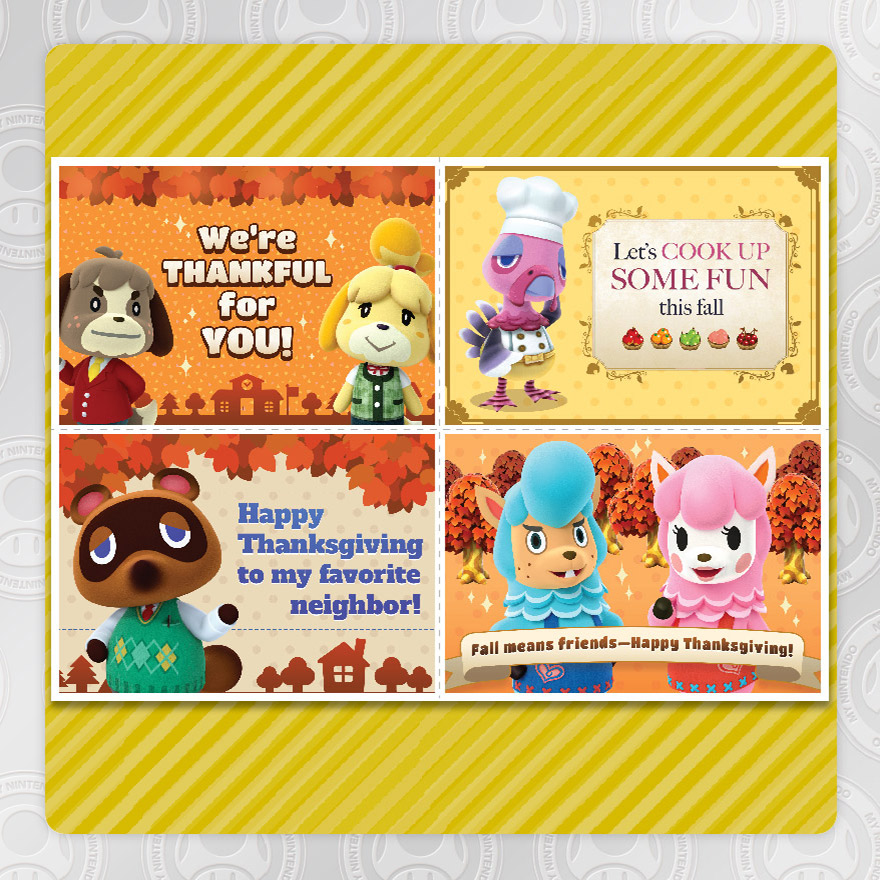 My nintendo adds animal crossing thanksgiving greeting cards in my nintendo is getting into the thanksgiving spirit with a new reward in north america members can obtain new printable greeting cards m4hsunfo