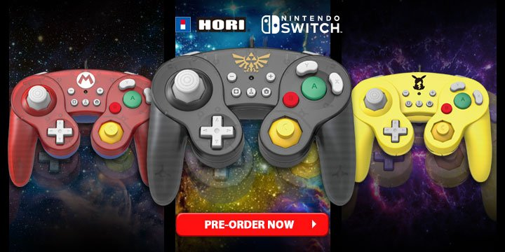 hori s gamecube style mario zelda and pikachu switch controllers