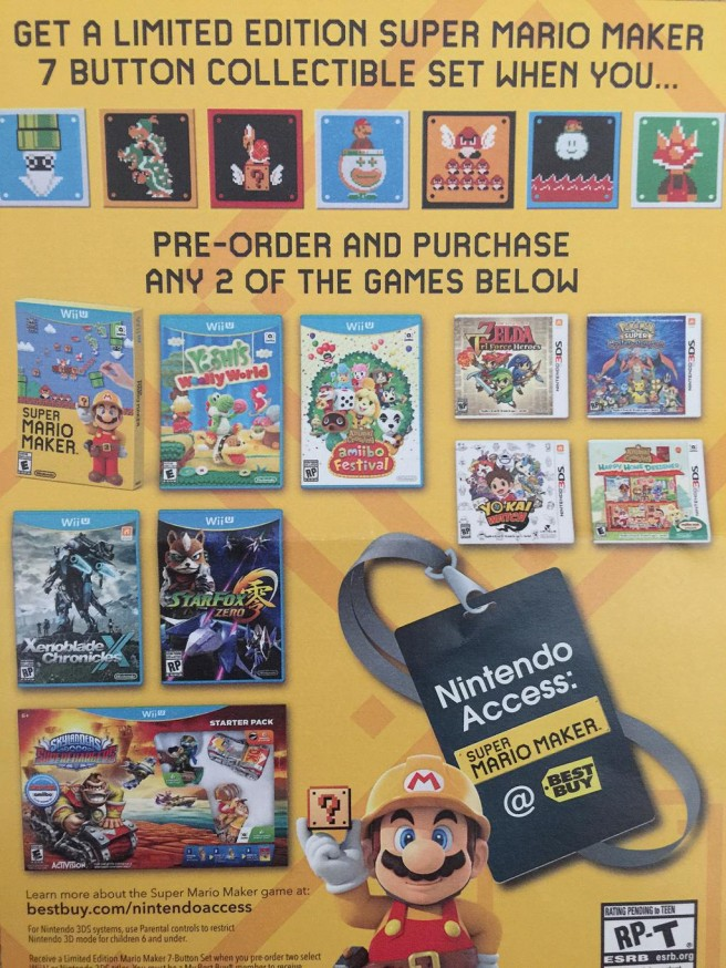 Best Buy: pre-order 2 select games, get a Super Mario Maker