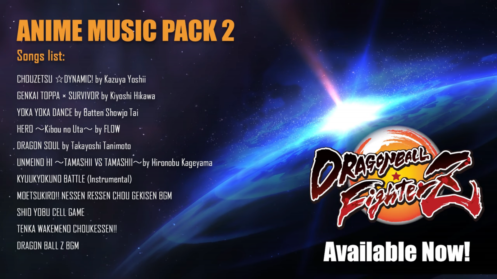Dragon Ball FighterZ Xenoverse 2 Anime Song Pack