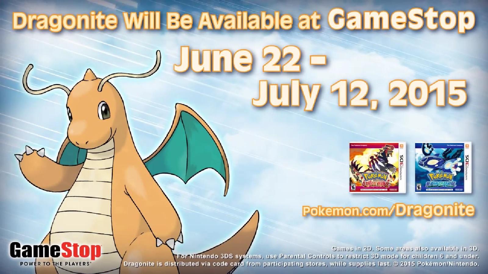 Gamestop Kicking Off Dragonite Distribution For Pokemon
