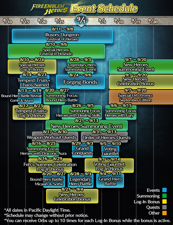 Quite A Bit Of Fire Emblem Heroes News Today First Up Intelligent Systems Put Out A New Event Calendar De Ing All The Events That Will Be Happening In