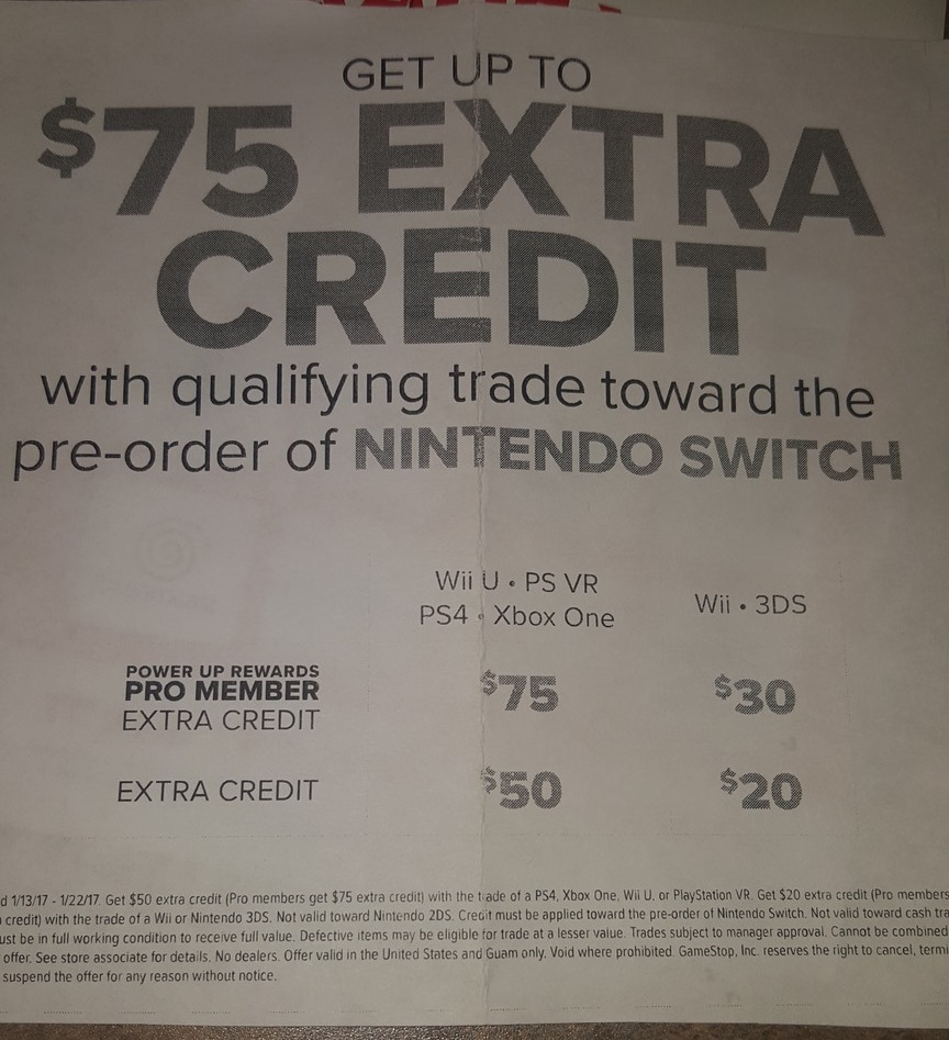 GameStop offering up to $75 extra credit with trade-in