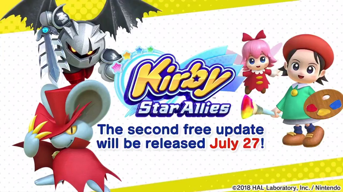 kirby star allies is getting its next major update on july 27 daroach dark meta knight and the recently revealed adeleine ribbon will all be added as