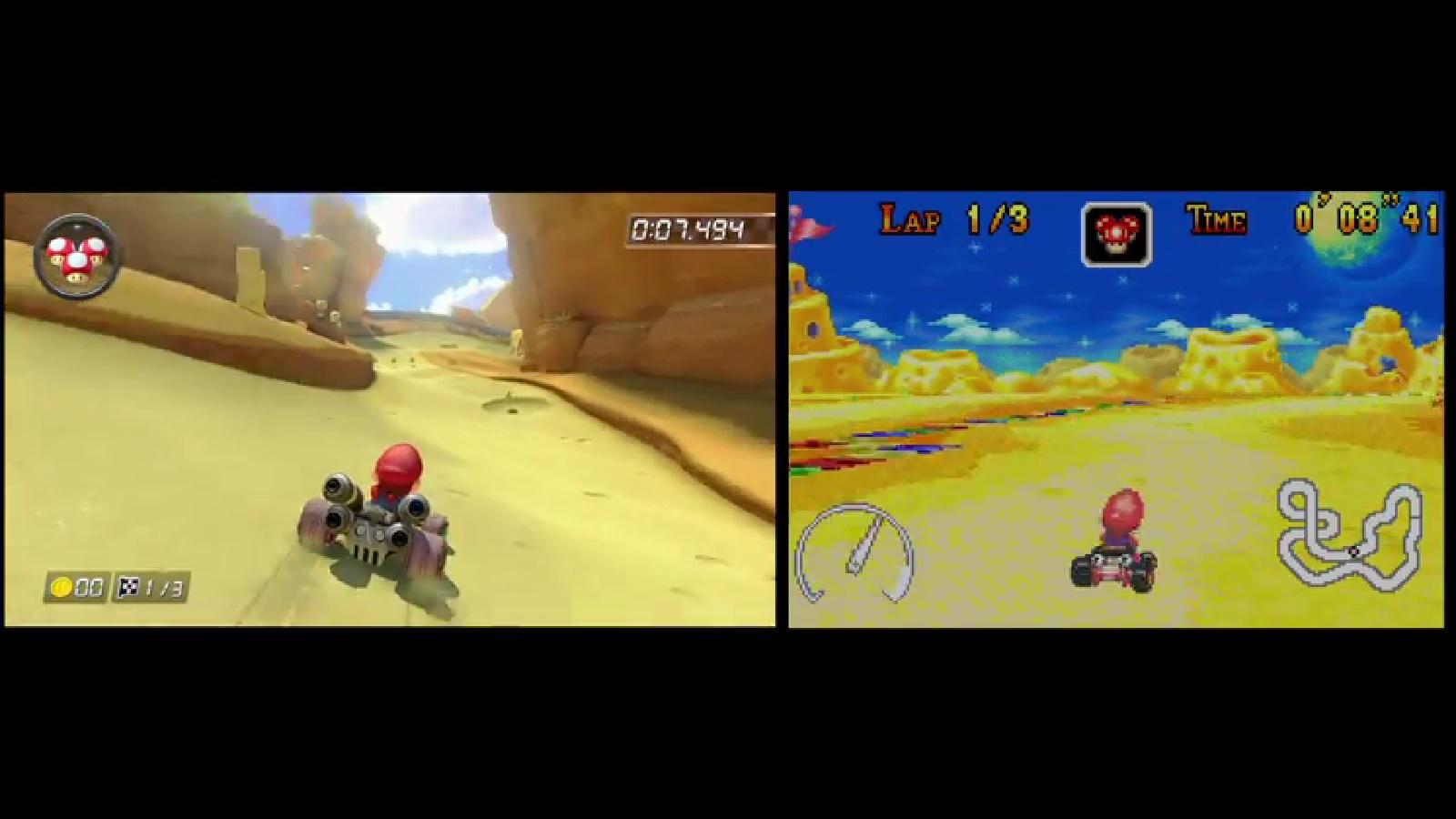 Mario Kart 8 Cheese Land Comparison Wii U Vs Gba Nintendo