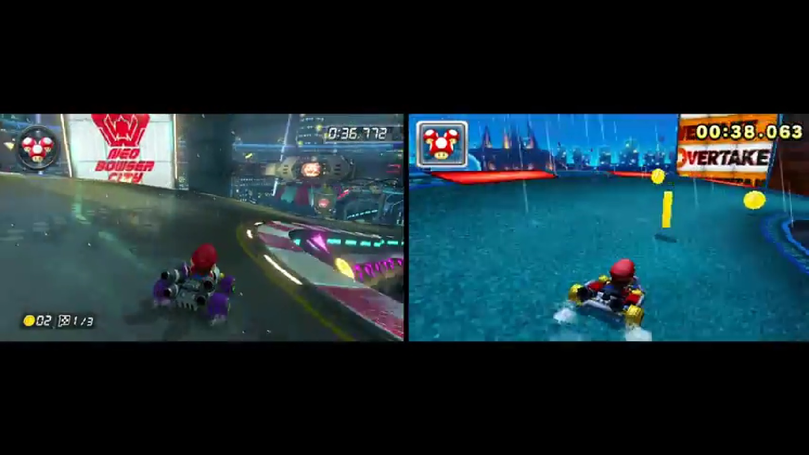 another mario kart 8 neo bowser city track comparison wii. Black Bedroom Furniture Sets. Home Design Ideas