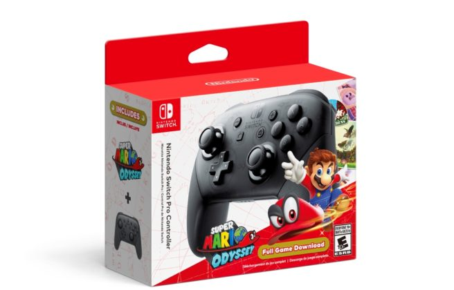 Switch Pro Controller with Super Mario Odyssey bundle