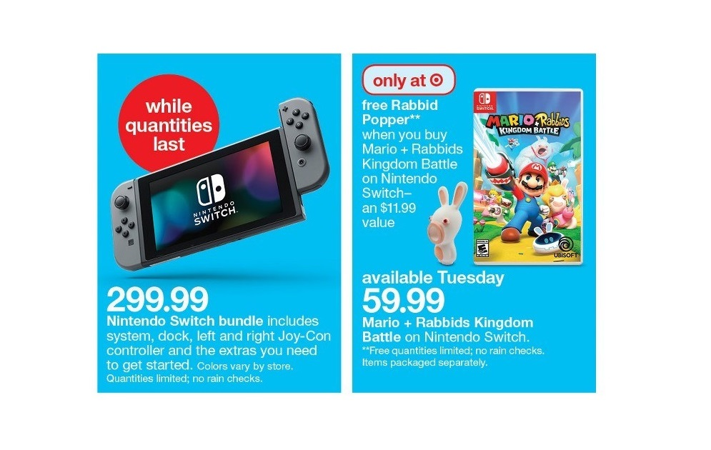 Target will be handing out a Rabbid Popper with Mario +