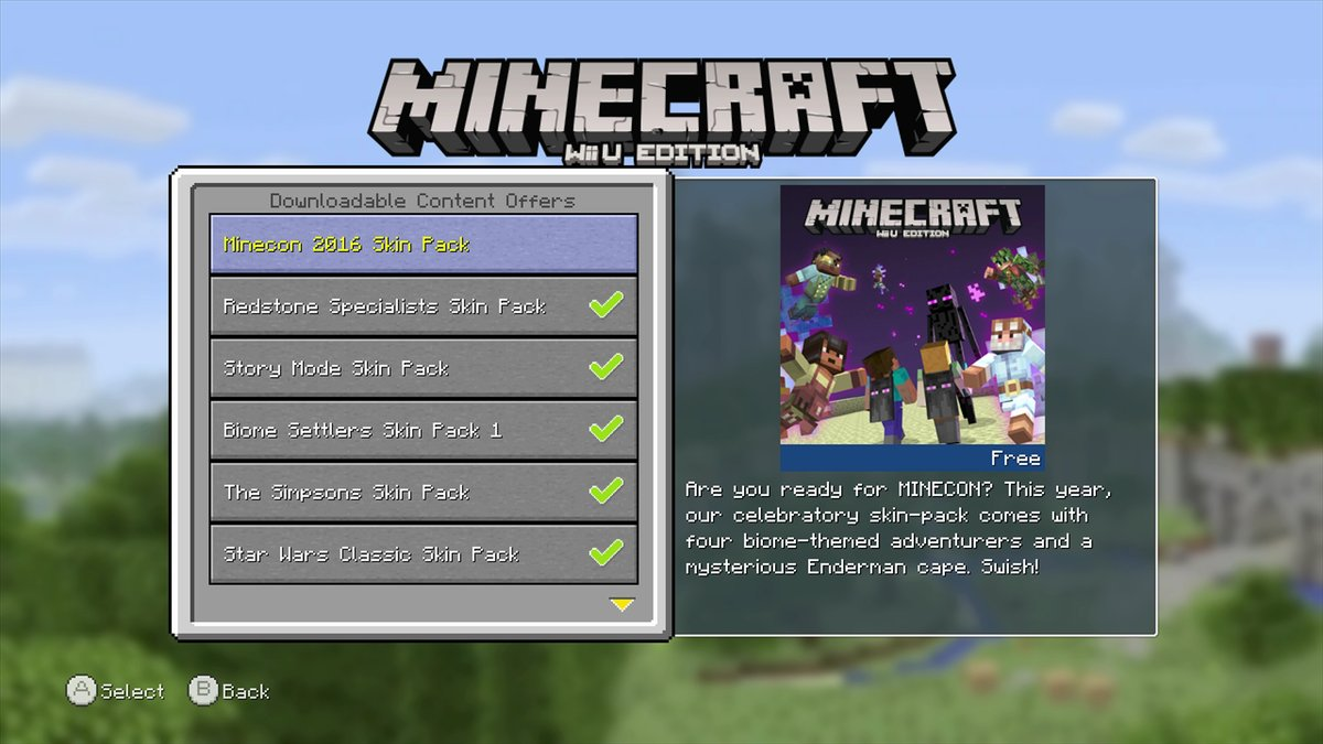 Minecraft Wii U Edition Gets Minecon Skin Pack Nintendo - Skins para minecraft pc descargar
