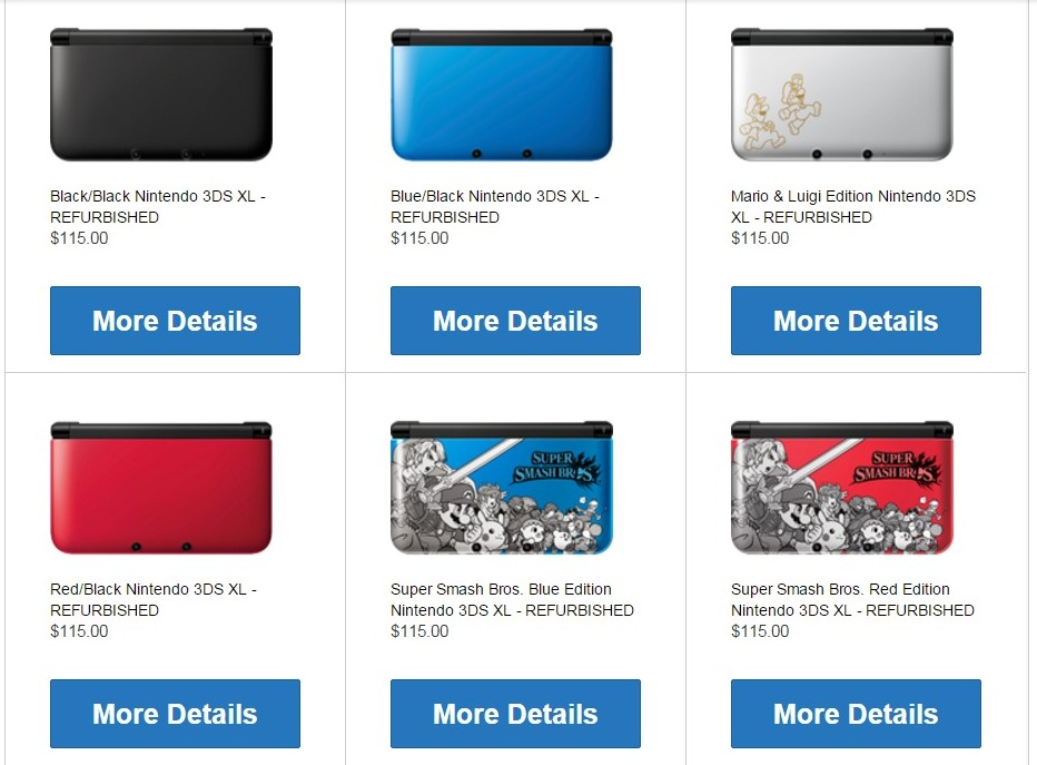 Nintendo online store selling refurbished 3DS XL systems for