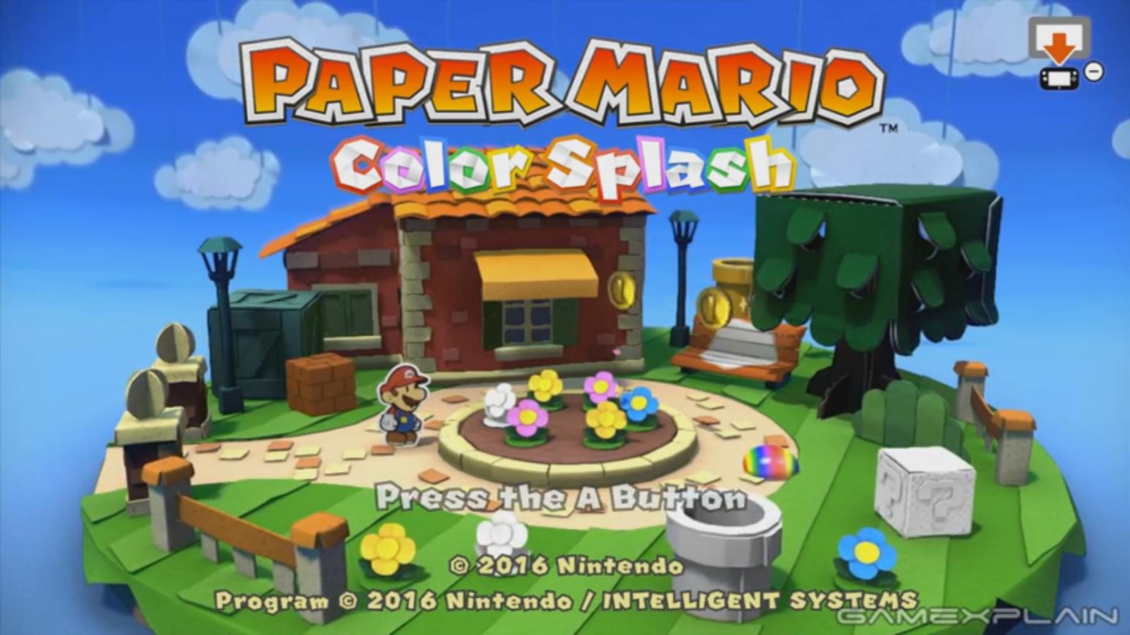 New Paper Mario Color Splash Footage Title Screen Dark Bloo Inn