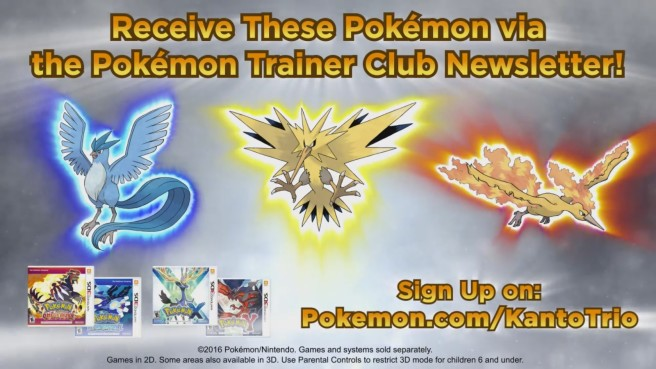 Articuno, Zapdos, and Moltres codes to be distributed in