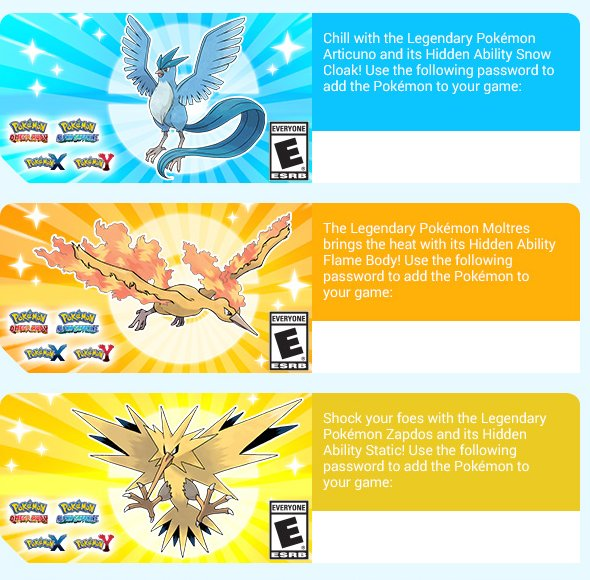 articuno zapdos and moltres codes going out via pokemon newsletter