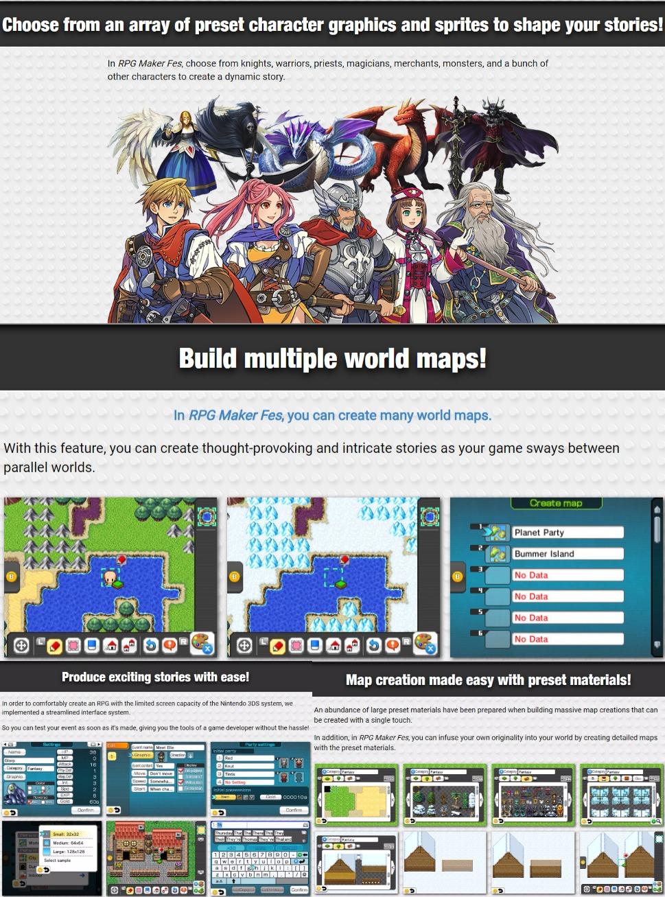 RPG Maker Fes screenshots and system details - Nintendo