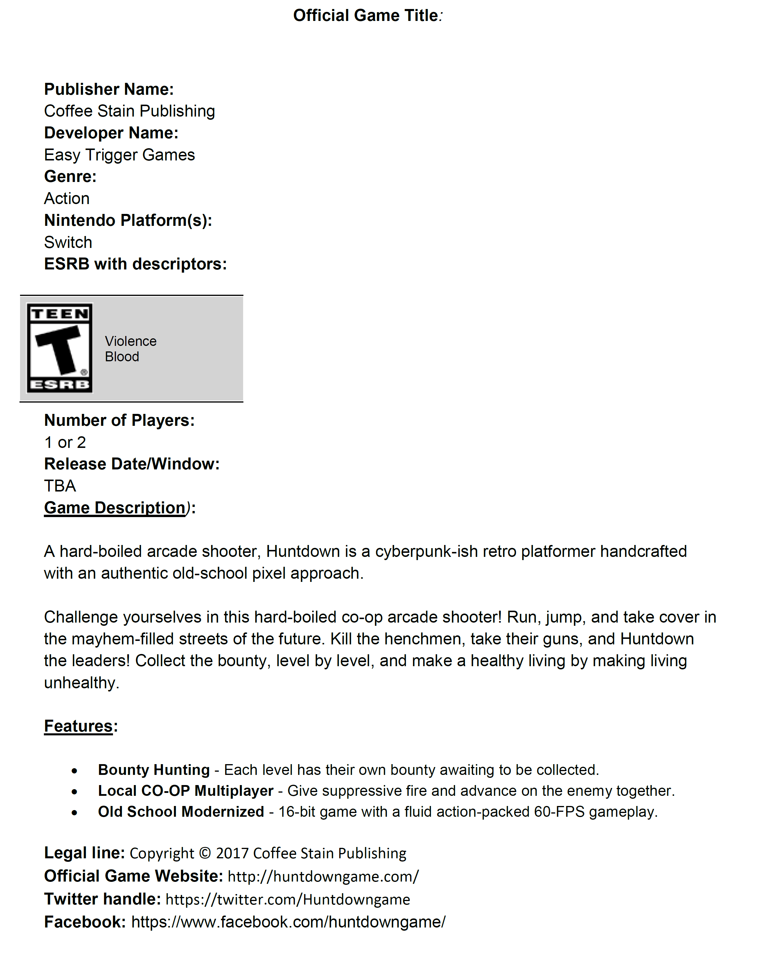 Tons of Switch indie game fact sheets (Oxenfree coming to
