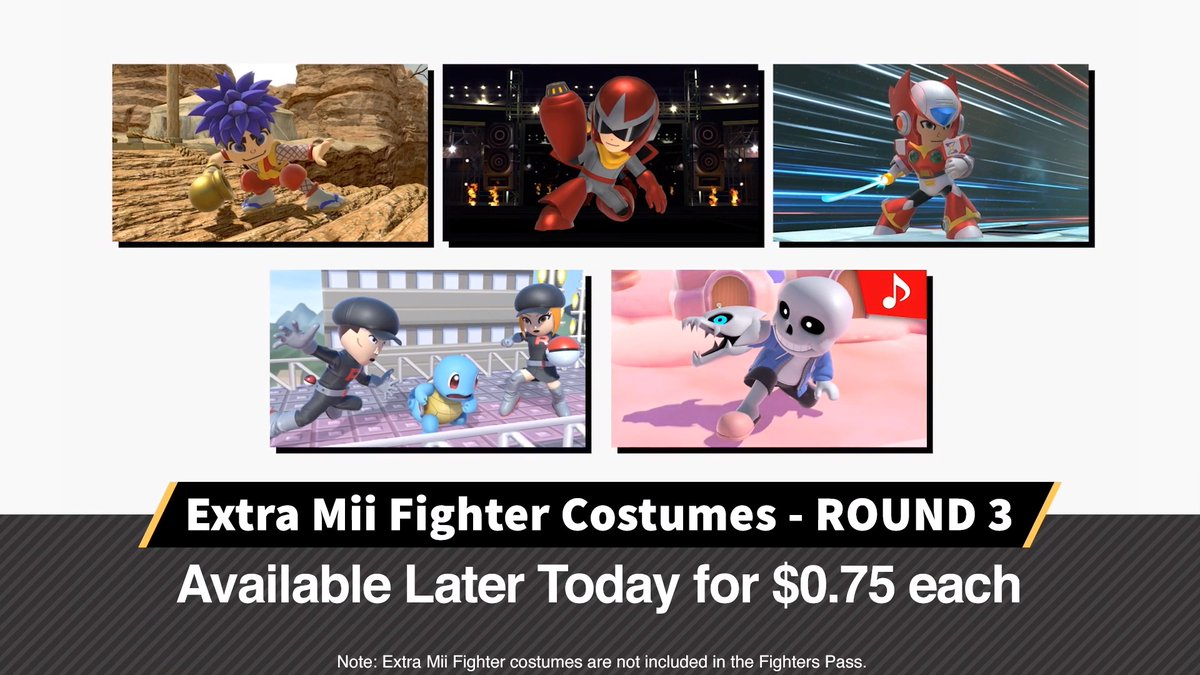 Nintendo reveals new Mii Fighter costumes for Smash Bros. Ultimate, including Sans from Undertale