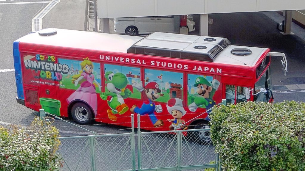 Super Nintendo World park crew bus shows up at Universal Studios Japan