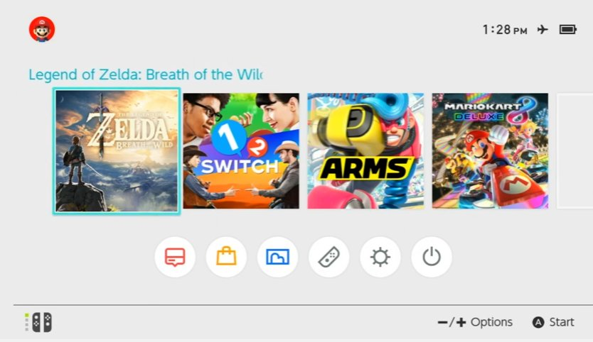 Switch interface shows symbol for airplane mode - Nintendo Everything