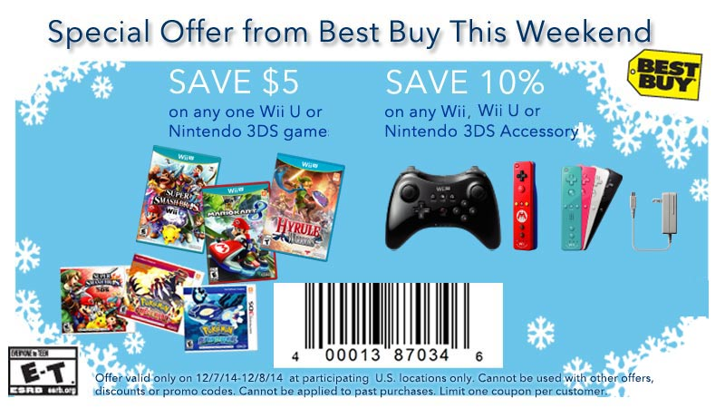 Best Buy: $5 off any Wii U/3DS game, 10% off accessories